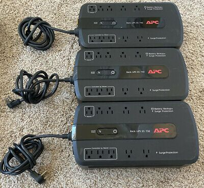 Ebay Link Ad Lot Of 3apc Back Ups Es 750 10 Outlet Battery Backup Surge Protector No Battery In 2020 Surge Protector Battery Backup Backup