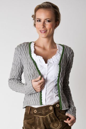 Ludwig und Therese Damen Trachtenjacke Elke grau/grün 1440 34