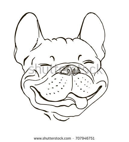French Bulldog Portrait Happy Dog Face Sketch Black And White