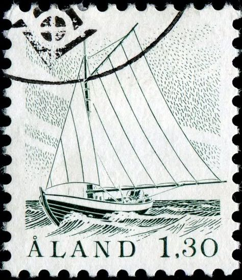 Gaff-rigged sloop, definitive stamp designed by Finnish artist Pirkko Vahtero (1939- ), combined photogravure and engraved, and issued by Åland Islands on January 2, 1986, Scott No. 6, Facit No. 14.
