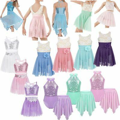 Kids Girls Figure Roller Ice Skating Dress Ballet Dance Leotard Skirt Dancewear