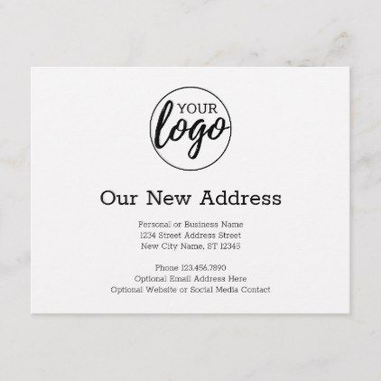New Address Change With Business Logo White Announcement Postcard Zazzle Com Business Logo Business Template Change Of Address