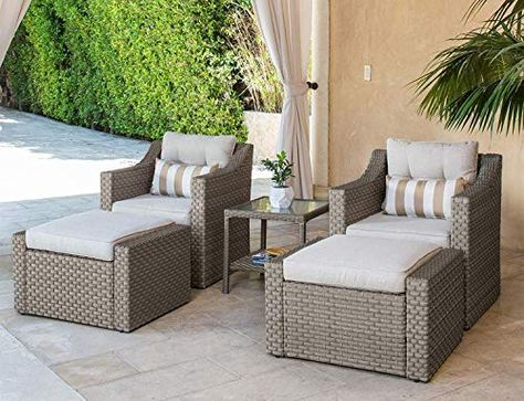 Outdoor Furniture Set Gray Wicker