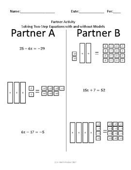 Solving Two Step Equations Partner Activity Two Step Equations Literal Equations Pre Algebra Worksheets