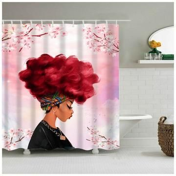 Limited Quantity Buy Now African Girl With Blue Curls Is Reveled In The Gracefu Girls Shower Curtain Designer Shower Curtains Bathroom Shower Curtain Sets