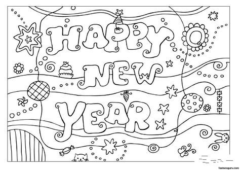 New Year S Coloring Pages Coloring Pages Happy New Year 2013 Printable Coloring Pages For Malvorlagen Fur Kinder Neujahrskarte Kostenlose Ausmalbilder