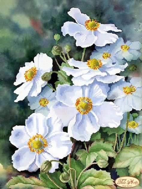 Gentle anemones Flowers Bead Embroidery Kit Beadwork Hand embroidery Beading Embroidery of beads Beads Stitching Kit avec perle