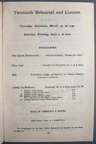 Busoni, Ferruccio - Nikisch, Arthur - Piano Concert Program 1893 - concert program