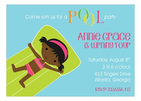 Start out summer right with this cute African American Swimming Girl Invitation by Picture Perfect.