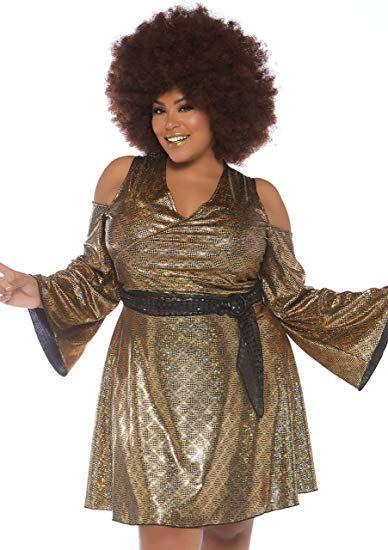 Plus size black hologram disco womens costume