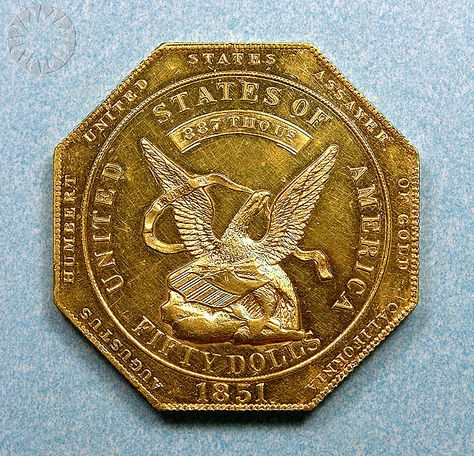 U S Assay Office 50 Dollars 1851 Monedas De Oro Monedas Papel Moneda