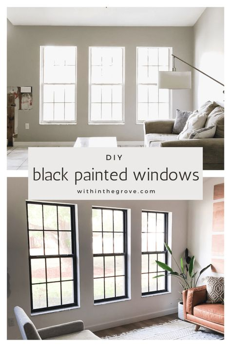 How to Paint Black Window Frames and Panes - Within the Grove My Living Room, Home And Living, Living Spaces, Living Room Windows, Home Upgrades, Interior Exterior, Interior Design, Exterior Windows, Diy Interior Window