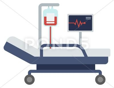 Hospital Bed With Medical Equipments Stock Illustration Ad Medical Bed Hospital Illustration Hospital Hospital Bed Medical Equipment