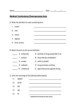 Medical Terminology Pharmacology Quiz With Answer Key Nursing