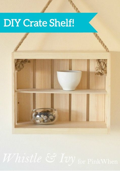 This quick and easy DIY Rope and Crate Shelf project is the perfect way to fill your weekend! All you need is a little wood glue and you're good to go.