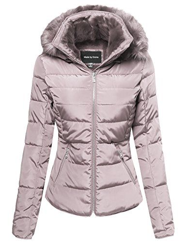 Made by Emma Womens Junior Fit Quilted Puffer Jacket with Detachable Faux Fur Hood