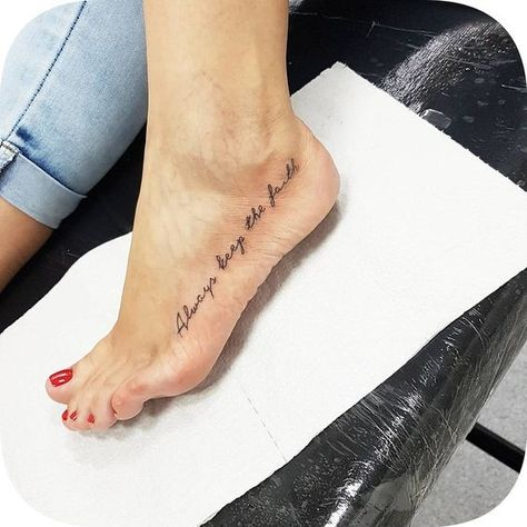42 Tattoo Quotes that will make you irresistible! Foot Tattoos Girls, Cute Foot Tattoos, Small Foot Tattoos, Foot Tattoos For Women, Dainty Tattoos, Delicate Tattoo, Mini Tattoos, Trendy Tattoos, New Tattoos