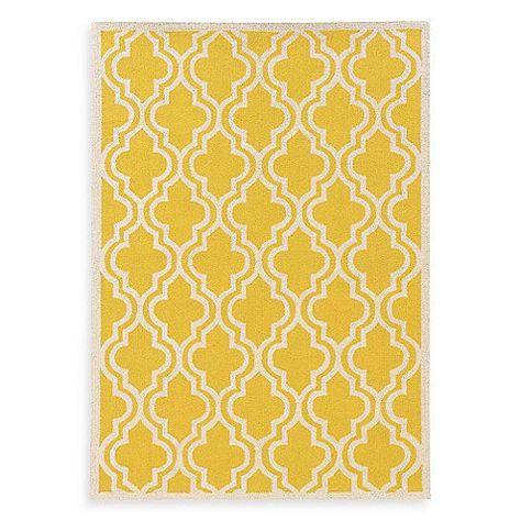 Linon Home Silhouette Collection Quatrefoil Rug In Yellow White