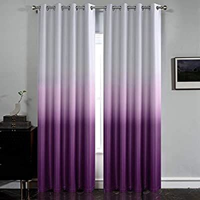 Amazon Com Simplehome Gradient Color Ombre Room Darkening Curtains Blackout Purple Thermal Insulated Eyelet T Purple Curtains Purple Curtains Bedroom Curtains