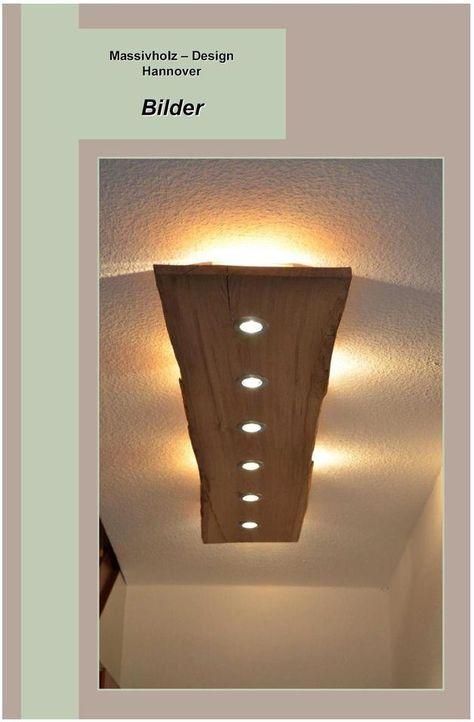 Massiv Holz Design Decken Lampe Led Beleuchtung Decke