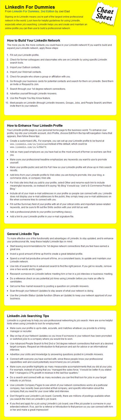 LinkedIn Cheat Sheet For Dummies Business - resumes for dummies