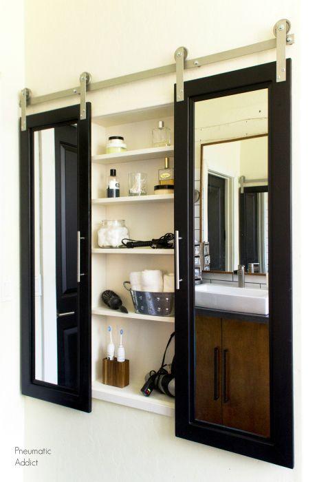 Modern Master Bath Remodel Part 4 Barn Door Medicine Cabinet Cabinet Door Makeover Closet Door Makeover Master Bath Remodel