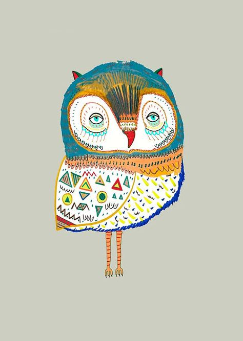Illustration, Illustration Print, Owl illustration by Illustrator Ashley Percival.