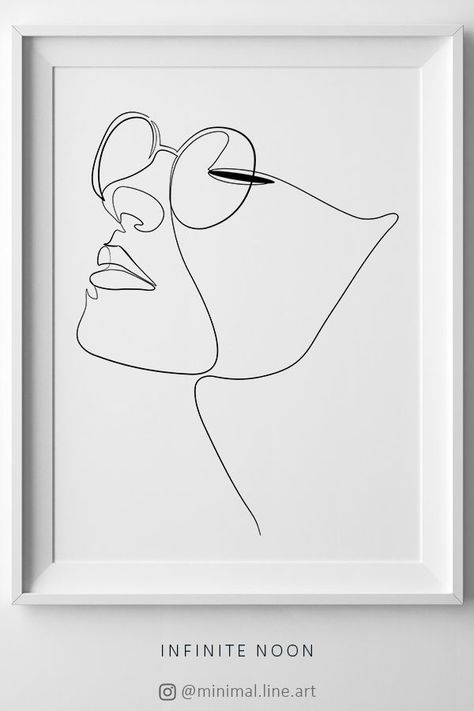 Woman Face Figure Line Drawing, One Line Woman Printable Wall Art, Line Art Print, Artwork Face Print, Minimalist Sketch, Eye Glasses Print