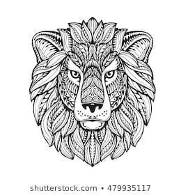 Imagenes Similares Fotos Y Vectores De Stock Sobre A Lion Portrait Of A Wild Cat Predator Lion S Head The Sty In 2020 Mandala Malvorlagen Mandala Lowe Malvorlagen