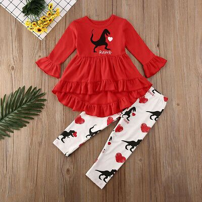 XMAS Toddler Kids Baby Girls Flower Top Dress Pants Leggings Outfits Clothes USA