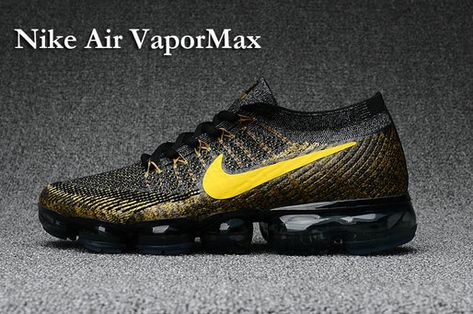 cheaper 56437 4355f 2018 New 2018 NIKE AIR VAPORMAX FLYKNIT Mens Shoes black gold