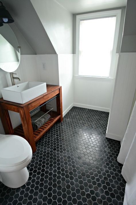 Black hex tile floor, Sherwin Williams Argos Paint.  Check out the before and afters!