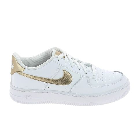 NIKE Air Force 1 Jr Blanc Or | Nike air force, Nouvelle chaussure ...