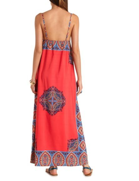 891f038e8b2 Scarf Print Empire Waist Maxi Dress  Charlotte Russe