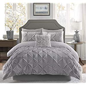 Fixtex Pinch Pleat Pintuck Duvet Cover Set With Fitted Sheet