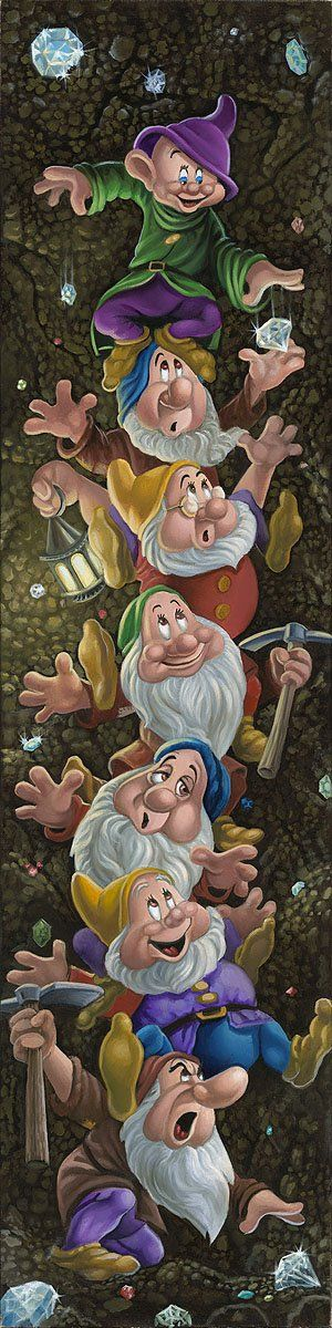Snow White and the Seven Dwarfs Walt Disney Fine Art Jared Franco Signed Limited Edition of 195 on Canvas