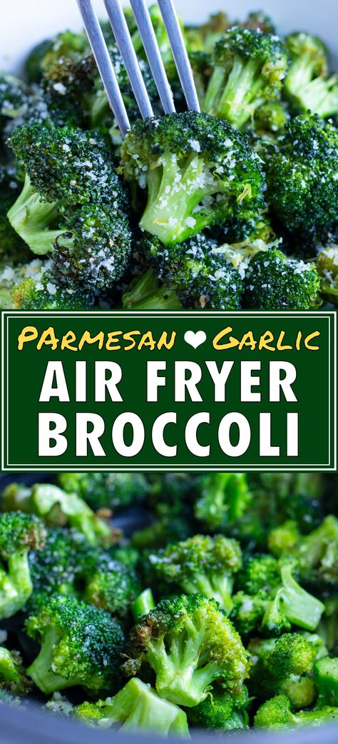 Quickly cook up a batch of this Air Fryer Broccoli with extra crispy edges in less than 10 minutes! It's full of garlic and Parmesan flavor and a sprinkle of fresh lemon zest. Making roasted broccoli in the air fryer for a healthy and low-carb dinner side has never been easier! #airfryer #broccoli #lowcarb