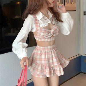 Korean Summer Fashion Outfit Sexy Short Ruffles Shirt Plaid Bow Three-Piece Set