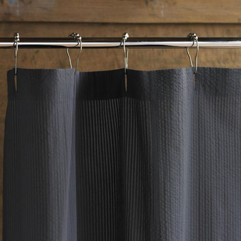 Coyuchi Seersucker Shower Curtain Color Charcoal 1011173