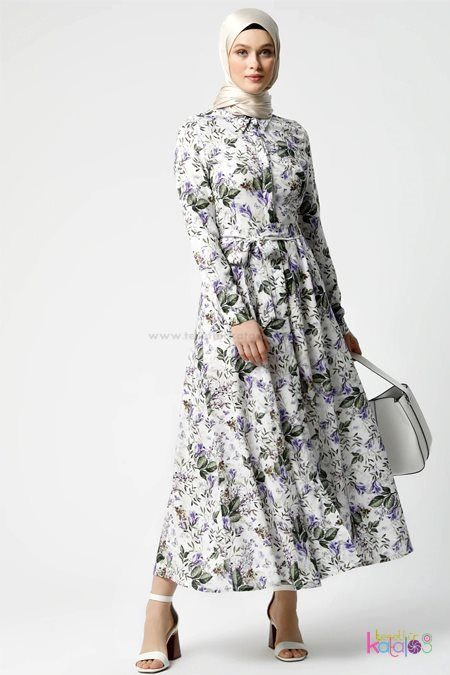 Beyaz Mor Dogal Kumasli Cicek Desenli Elbise 2020 The Dress Musluman Elbisesi Elbise