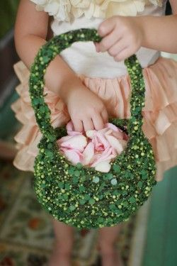 Moss-Covered Flower Girl Basket