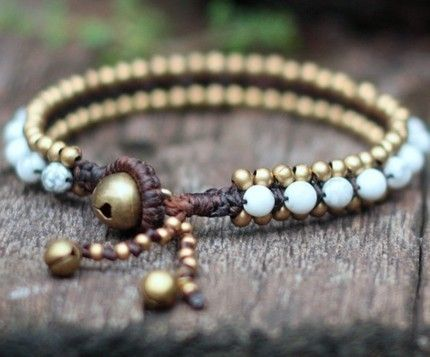 Howlite, brass & leather bracelet