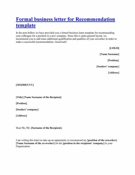 free letter recommendation templates samples Home Design Idea - formal letter of recommendation