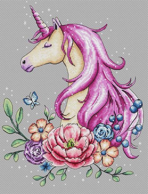 Scheme of cross-stitch The Magic Unicorn | Etsy