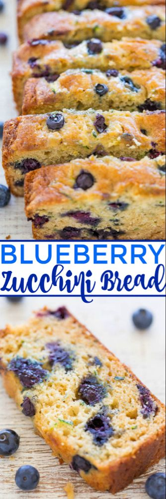 Blueberry Zucchini Bread - Juicy BLUEBERRIES in every bite of this soft, easy, no mixer bread! If you have picky eaters who don't like zucchini, don't worry because you can't taste it! It keeps the b (Baking Bread Zucchini) Zucchini Bread Recipes, Easy Bread Recipes, Baking Recipes, Zuchinni Blueberry Bread, Quick Bread, Zucchini Desserts, Zucchini Loaf, Zucchini Cookies, Blueberry Loaf
