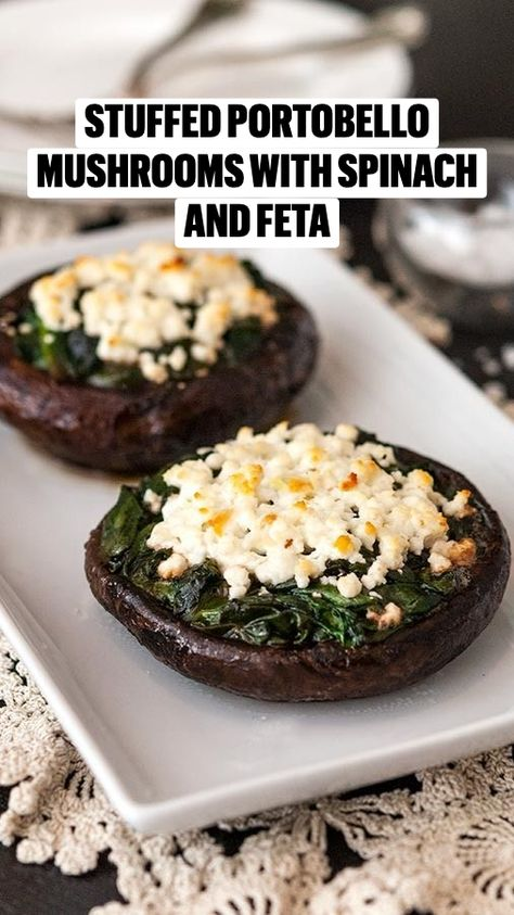 Stuffed Portobello Mushrooms with Spinach and Feta