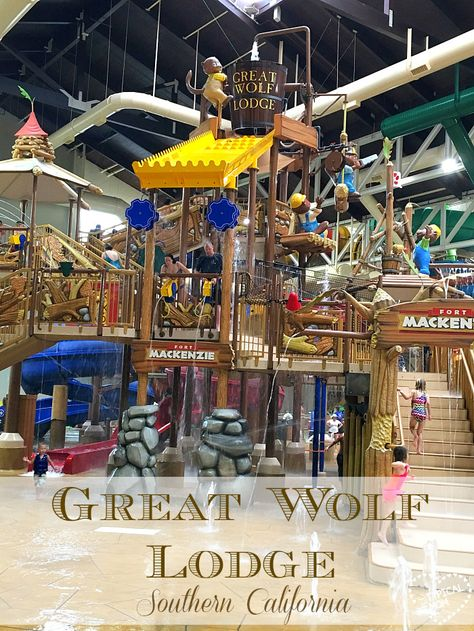 We love staying at Great Wolf Lodge Southern California! It has an indoor waterpark and super fun themed hotel rooms with bunk beds too. Here's a peek at our stay there and what you can do with your family at this family resort.