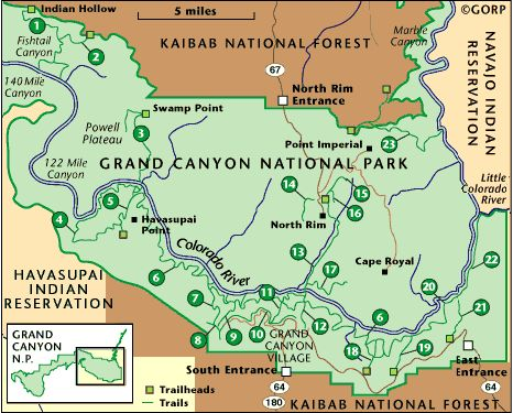 Grand canyon trail and camping map