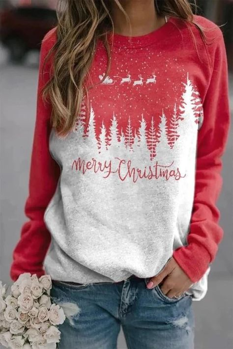 Style Casual,Daytime,Holiday Pattern Treetop,Deer,Santa Claus,Letter Detail Paneled,Print,Color-block Collar Crew neck Sleeve Type Long sleeves Material Polyester Season Spring,Fall,Winter Occasion Going out,Daily life,Travel Merry Christmas, Christmas Shirts, Christmas Note, Christmas Travel, Christmas Outfits, Christmas Colors, Christmas Sweaters, Christmas Parties, Printed Sweatshirts