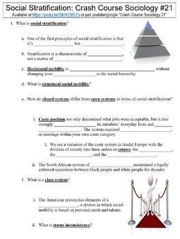 Crash Course Sociology 21 Social Stratification Worksheet